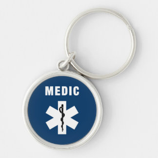 Medic Star of Life Silver-Colored Round Keychain