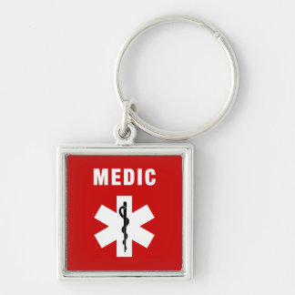 Medic Star of Life Silver-Colored Square Keychain