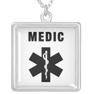 Medic Star of Life Square Pendant Necklace