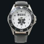 "Medic Star of Life Wrist Watch<br><div class=""desc"">EMT EMS Paramedic first responder pride logos say it&#39;s time to save more lives</div>"