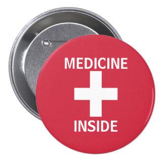 Medicación roja del símbolo de los primeros pin redondo de 3 pulgadas