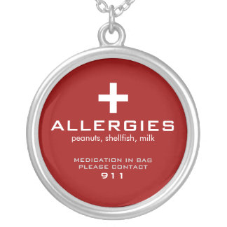 Medical Alert, Allergies Round Pendant Necklace