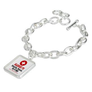 Medical alert allergy warning charm bracelet