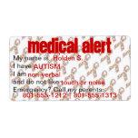 Medical Alert Autism Awareness Labels Custom Shipping Labels