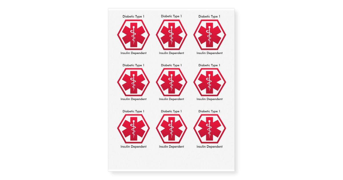 Medical Alert Diabetic Type 1 Insulin Dependent Temporary Tattoos