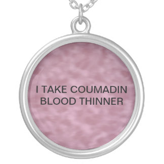 MEDICAL ALERT FOR COUMADIN ROUND PENDANT NECKLACE
