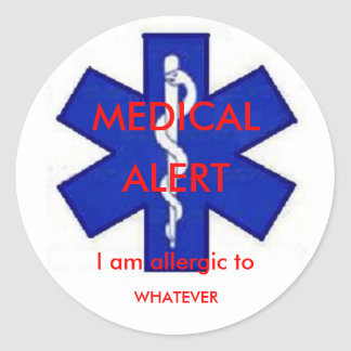 "Medical Alert ""I am allergic to"" Sticker"