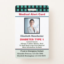 Medical Alert ID Card Photo Name Custom Badge