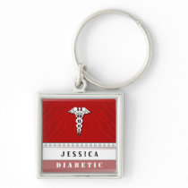 Medical Alert Keychain - Custom Name - Diabetic
