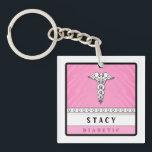 """Medical Alert Keychain PINK -  Double Sided<br><div class=""""desc"""">Medical Alert Keychain Pink - Double - Sided by Julie Alvarez</div>"""