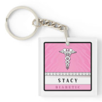 Medical Alert Keychain PINK -  Double Sided