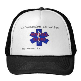 "Medical alert ""My name is"" Hat"