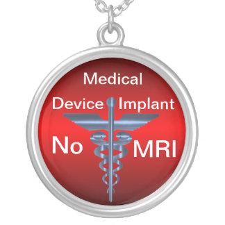 Medical Alert -- No MRI Medical Implant Round Pendant Necklace