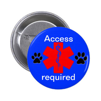 medical alert symbol service dog access required 2 inch round button