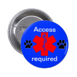 medical alert symbol service dog access required pinback button