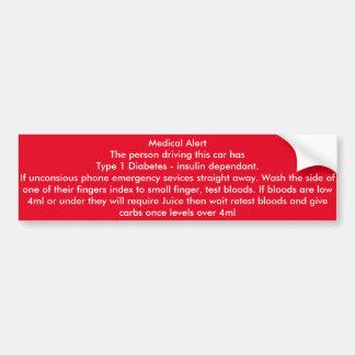 Medical Alert Type 1 diabetes Driver car sticker