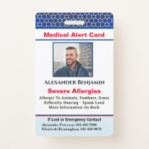 Medical Allergy Alert Emergency Photo Custom ID Badge