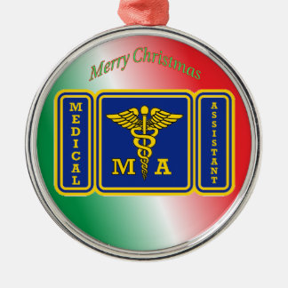 Medical Assisstant Caduceus Shield Metal Ornament