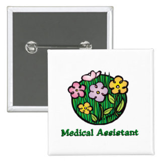 Medical Assistant Blooms 2 Pinback Button