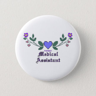 Medical Assistant P Crossstitch Pinback Button