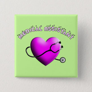 Medical Assistant PINK HEART Design Gifts Pinback Button