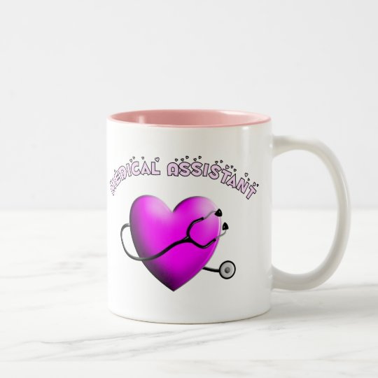 Medical Assistant PINK HEART Design Gifts Two-Tone Coffee Mug