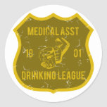 Medical Asst Drinking League Classic Round Sticker