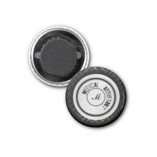 Medical Asst.Stethoscope Magnet, Black Plaid 1 Inch Round Magnet