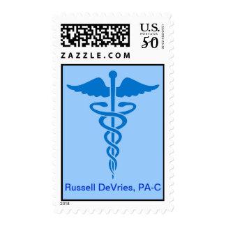 Medical Blue Caduceus Postage Stamp