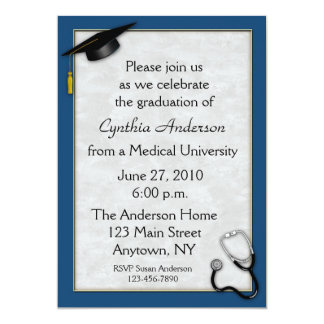 Medical Blue Graduation Invitation