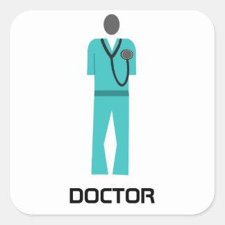 Medical Blue Scrub Square Sticker