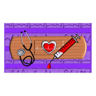 Medical Business Cards Big Bandaid Purple Business Card