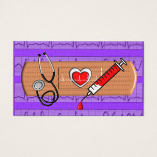 Medical Business Cards Big Bandaid Purple