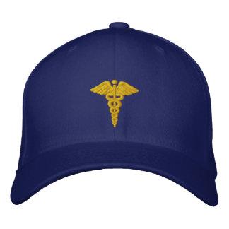 Medical Caduceus Gold Embroidered Baseball Hat
