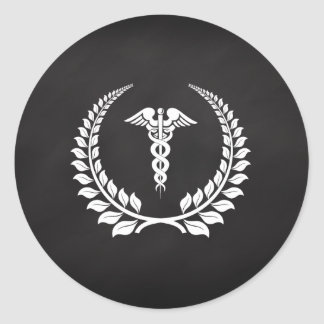 Medical Caduceus Laurel Classic Round Sticker