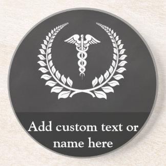 Medical Caduceus Laurel Drink Coaster