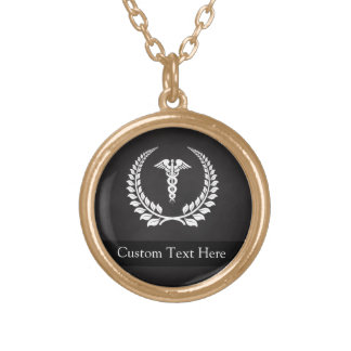 Medical Caduceus Laurel Necklace