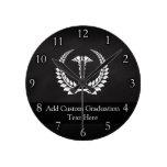 Medical Caduceus Laurel Round Clock