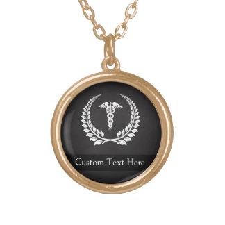 Medical Caduceus Laurel Round Pendant Necklace