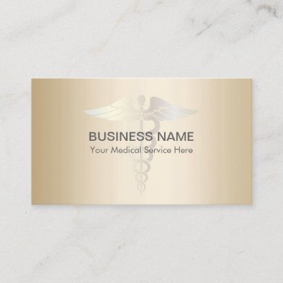 Medical gold caduceus professional business card zazzle reheart Image collections
