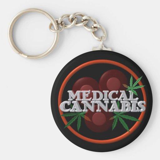Medical Cannabis fights illness on black Key Chain