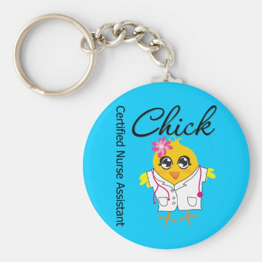 Medical Chick v2 Certified Nurse Assistant Basic Round Button Keychain