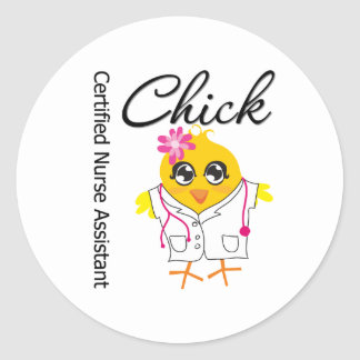 Medical Chick v2 Certified Nurse Assistant Round Stickers