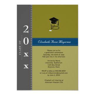 Medical Classic Cap : Gray & Blue 5x7 Paper Invitation Card