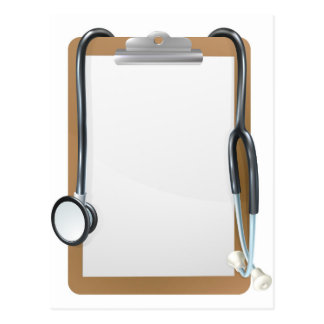 Medical Clipboard Background Postcard