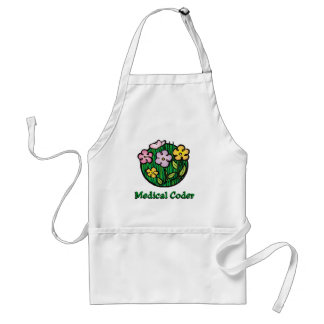 Medical Coder Blooms2 Adult Apron