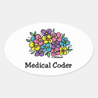 Medical Coder Blooms2 Oval Sticker