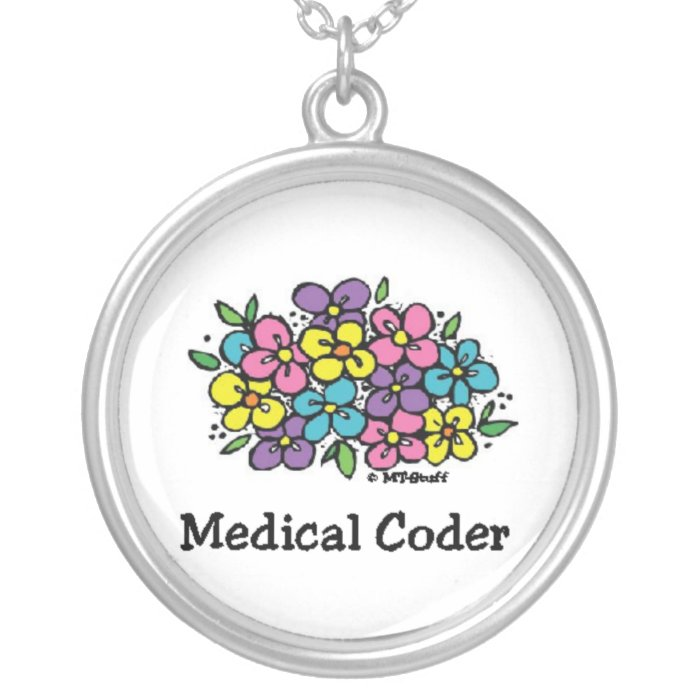 Medical Coder Blooms2 Silver Plated Necklace