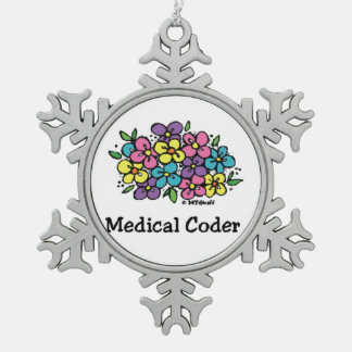 Medical Coder Blooms2 Snowflake Pewter Christmas Ornament