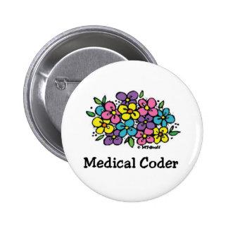 Medical Coder Blooms 2 Pinback Button
